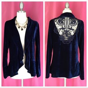 One World Velvet Ruffle Cardigan